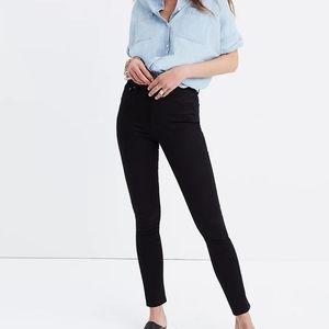 "Madewell 10"" high rise skinny jeans distressed hem"